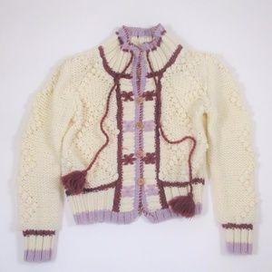 Vtg 70s 80s Cardigan Sweater Cream Puple Button Up